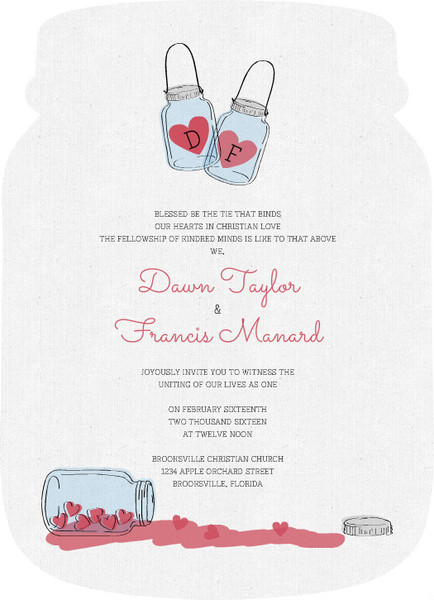 Rustic Love Jar Wedding Invitation