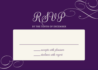 Elegant Purple Flourish Pattern Wedding Response Card