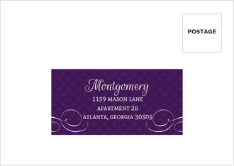 Elegant Purple Flourish Pattern Wedding Return Address Envelope