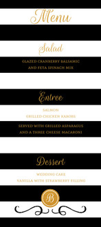 Chic Black & White Modern Wedding Menu