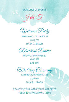 Tropical Watercolor Palms Wedding Enclosure Card