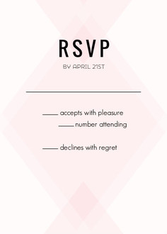 Geometric Pink Blush Pattern Wedding Response Card