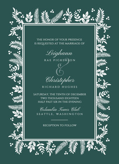 Beautiful White Foliage Frame Wedding Invitation