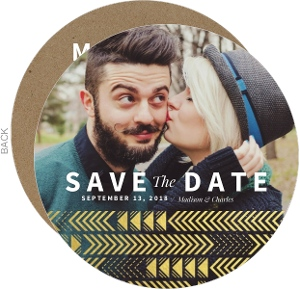 Faux Gold Foil Arrow Pattern Save The Date Card