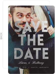 Faux Foil Bold Typography Save The Date Announcement