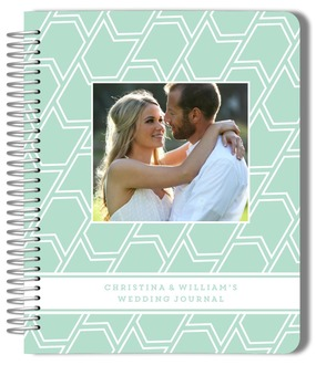 Mint Chevron Pattern Wedding Journal