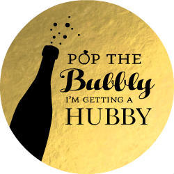 Faux Foil Champagne Bubbly Button