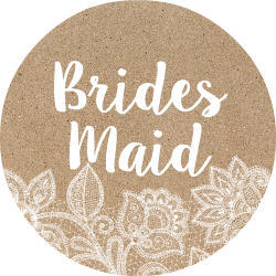 White Lace and Kraft Bridesmaid Button