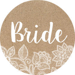 White Lace and Kraft Bride Button