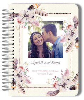 Floral Feather Photo Wedding Journal