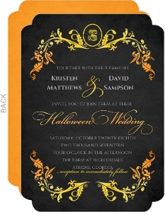 Elegant Watercolor Frame Halloween Wedding Invitation