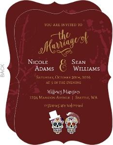Blood Splatter Sugar Skull Halloween Wedding Invitation