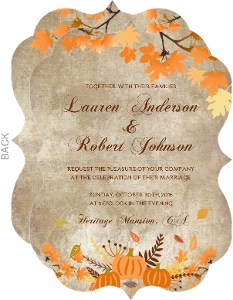 Rustic Pumpkin and Leaves Wedding Invitation