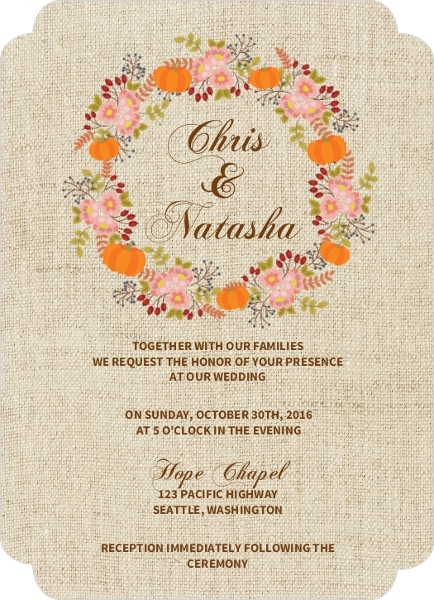 Autumn Floral Wreath Wedding Invitation