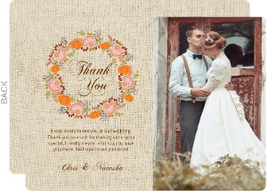 Autumn Floral Wreath Wedding Thank You Card