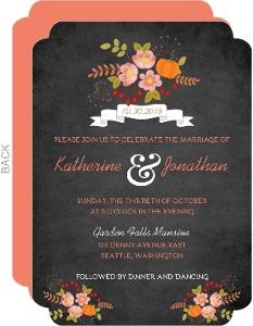 Fall Pumpkin Flowers Wedding Invitation