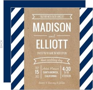 Navy Stripes and Kraft Banner Wedding Invitation
