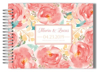 Pink Elegant Watercolor Floral Wedding Guest Book
