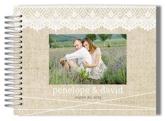 Beautiful Burlap & Lace Wedding Guest Book