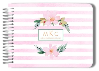 Floral Watercolor Monogram Wedding Guest Book
