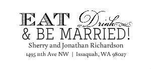 Eat Drink & Be Married Wedding Stamp