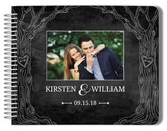 Chalkboard Monogram Tree Wedding Guest Book