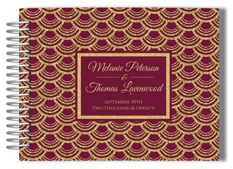 Burgundy Red & Gold Wedding Guest Book