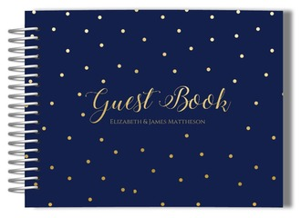 Navy and Faux Gold Wedding Guest Book