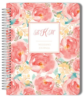Pink Floral Watercolor Wedding Journal