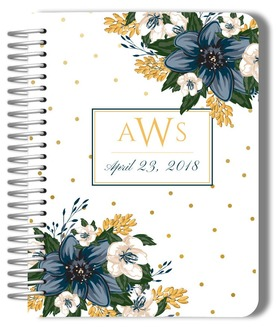 Modern Blue Floral Mogogram Wedding Journal