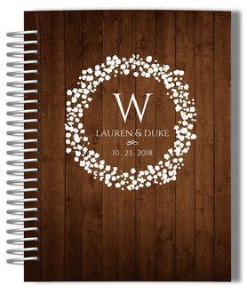 Rustic Woodgrain Wreath Wedding Journal