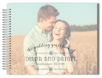 Typography Photo Wedding Guest Book