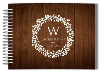 Woodgrain Monogram Wreath Wedding Guest Book