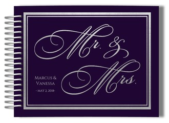 Purple and Faux Silver Foil Wedding Guest Book
