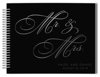 Gray Faux Silver Foil Wedding Guest Book