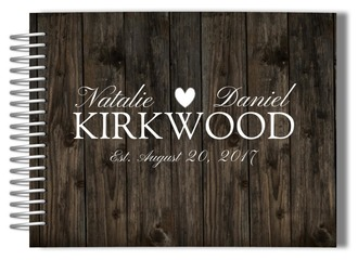 Woodgrain Heart Wedding Guest Book