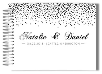 Black and White Confetti Wedding Guest Book