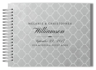 Faux Silver Foil Quatrefoil Wedding Guest Book