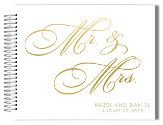 Faux Gold Foil Wedding Guest Book