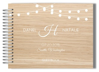 Rustic Hanging Lights Wedding Guest Book
