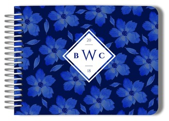 Navy Blue Watercolor Floral Pattern Wedding Guest Book