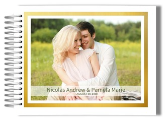 Faux Gold Frame Photo Wedding Guest Book