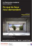 """Conférence """"Ce que les lieux nous demandent"""" à l'Ecole Nationale Supérieure d'Architecture Paris-Belleville le 18 novembre 2015"""