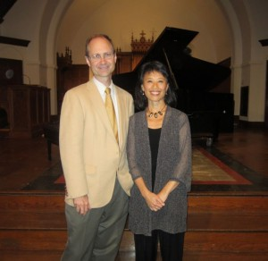 photo of composer and pianist at premiere of summer pieces