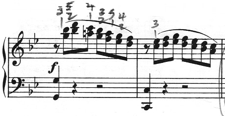 two bars of thirds in etude