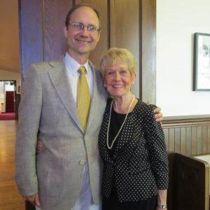 David Evan Thomas and Ann Buran standing two-shot