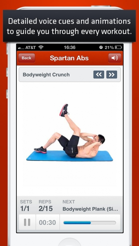 Ab Trainer : 100+ ab exercises and workouts, on-the-go, home, office, travel, personal trainer powered by Fitness Buddy