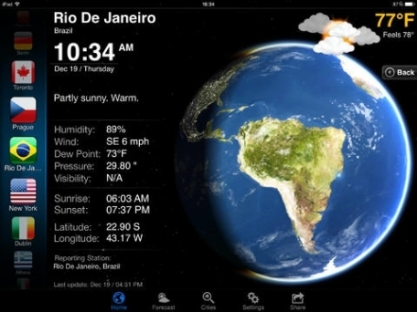 3D Earth HD with weather info, forecast and temperature on the icon.