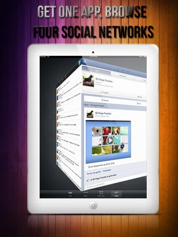 3D Social for Facebook, Twitter & Google+