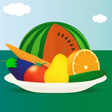 100 Fruits and Vegetables - Ad-free Picture Book